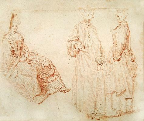 Three Women, One Seated on the Left