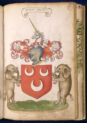 f.60 Coat of arms of Lord Oliphant, from the 'Seton Armorial', 1591