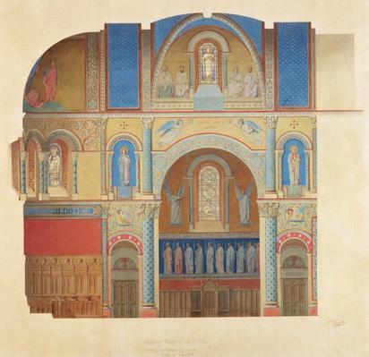 Saint-Paul Church, Nimes, longitudinal section of the choir