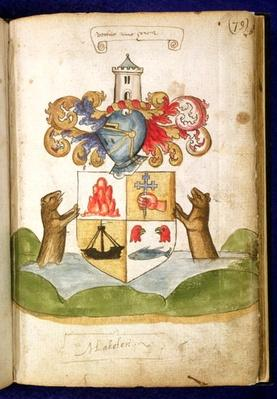 f.79 Coat of arms of Lord Lacklen, from the 'Seton Armorial', 1591