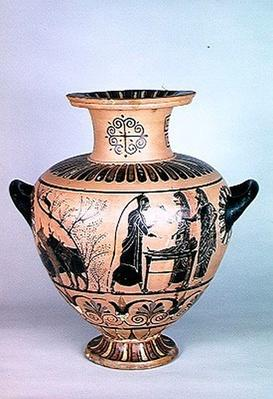 Archaic Ionian Hydria depicting Hermes pretending to be asleep, from Cerveteri, c.530 BC