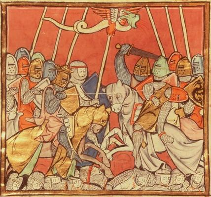 Fr 95 fol.173v The Battle of Bedigran, from 'The Story of Merlin', c.1280-90