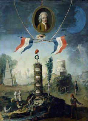 An Allegory of the Revolution with a portrait medallion of Jean-Jacques Rousseau