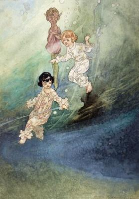 Untitled Watercolour, Children Underwater with an Elf