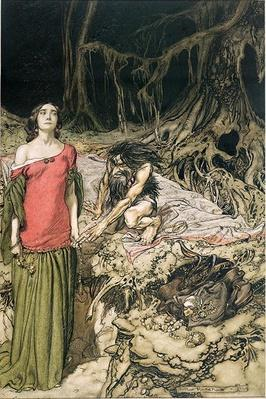 The Wooing of Grimhilde, the mother of Hagen from 'Siegfried and The Twilight of the Gods' by Richard Wagner, translated by Margaret Armour, 1911