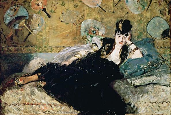 The Lady with Fans, Portrait of Nina de Callias by Manet, Edouard (1832-83)