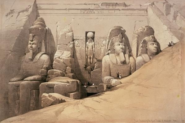 Front Elevation of the Great Temple of Aboo Simbel, Nubia, from 'Egypt and Nubia', lithograph by Louis Haghe, 1849