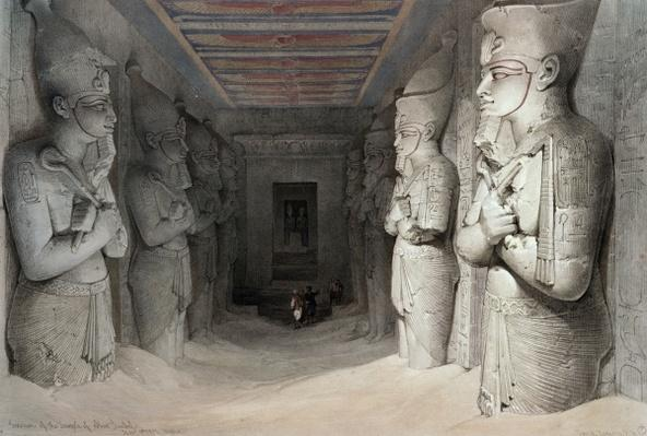 Interior of the Temple of Aboo Simbel, from 'Egypt and Nubia', lithograph by Louis Haghe, 1849
