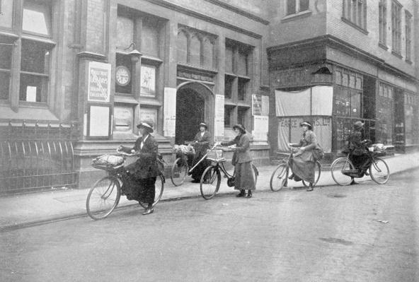 Women acting as Postmen, War Office photographs, 1916