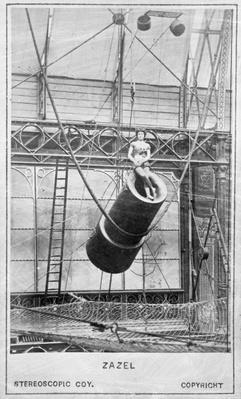 Zazel, first human cannonball, 1877