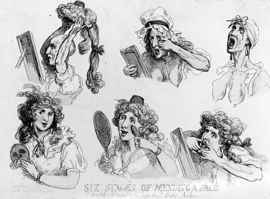 'Six Stages of Making a Face', printed by S.W. Fores, 1792