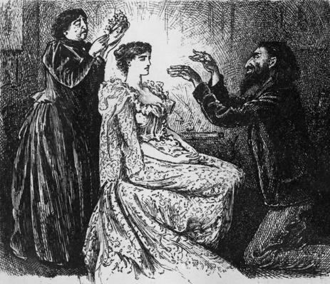Hypnotism of Trilby by Svengali, illustration from 'Trilby' by George du Maurier, 1895