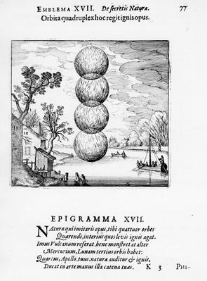 'A quadruple wheel rules this fiery work', Emblem XVII from 'Atlanta Fugiens' by Michael Maier, 1617