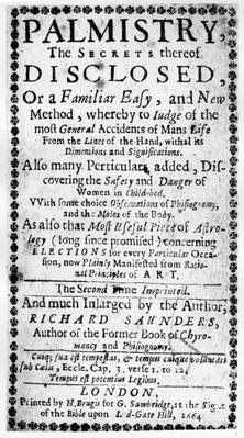 Frontispiece to 'Palmistry, the Secrets thereof Disclosed' by Richard Saunders, 1664