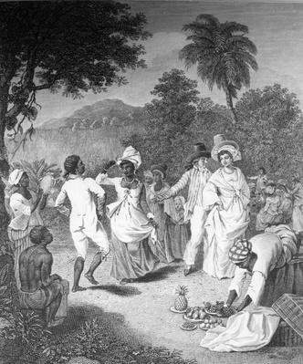 'A Negro Festival, drawn from nature on the Island of St. Vincent', etched by Phillip Audinet, 1794