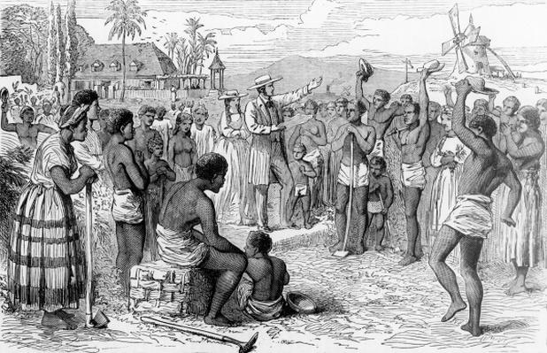 Scene on a West Indian Plantation - Slaves receiving the news of their Emancipation c.1834, published in 1863