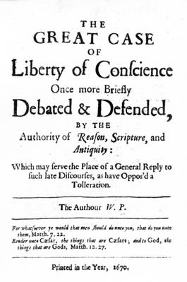 Title page to 'The Great Case of Liberty of Conscience' by William Penn, published in 1670