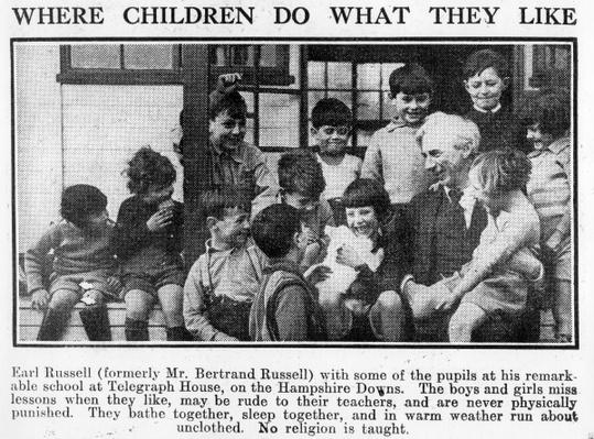 Bertrand Russell with pupils at his Beacon Hill School, 1931