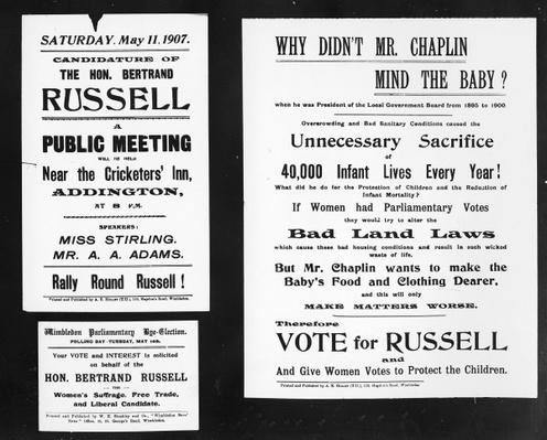 'Why didn't Mr. Chaplin mind the baby?', posters from Bertrand Russell's election campaign, 1907