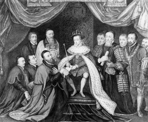 Edward VI granting the Charter for Bridewell Hospital to Sir George Barnes in 1553, published 1750
