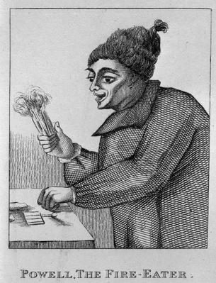 Robert Powell, The Fire Eater, from 'Portraits and Faces of Remarkable and Eccentric Characters of London', published in 1819