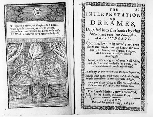 Frontispiece and title page to 'The Interpretation of Dreams' by Artemidorus, English edition published in 1644