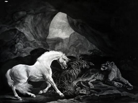 A Horse startled by a Lioness, engraved by Benjamin Green, 1774