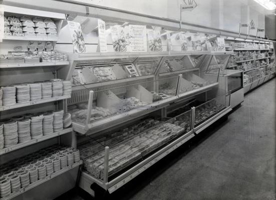Delicatessen aisle, Woolworths store, 1956