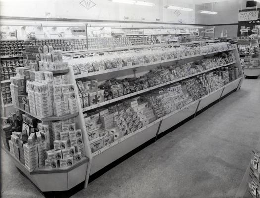 Confectionary aisle, Woolworths store, 1956
