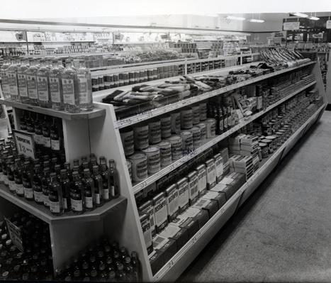 Paint and brushes aisle, Woolworths store, 1956