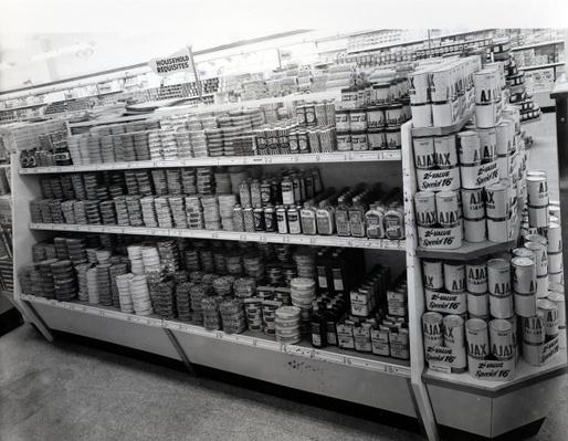 Household requisites aisle, Woolworths store, 1956