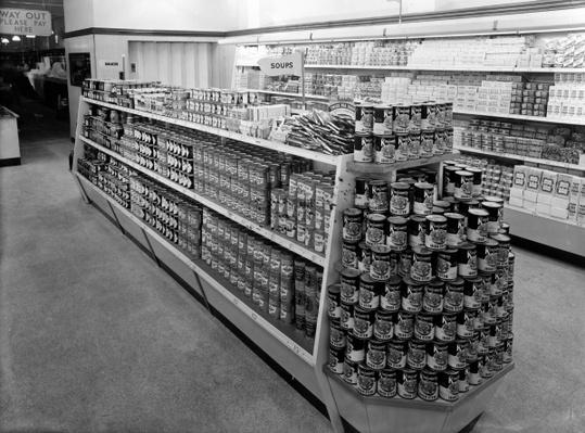 Soup aisle, Woolworths store, 1956