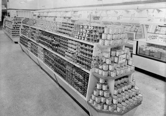 Tinned foods aisle, Woolworths store, 1956