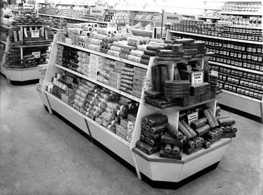 Biscuit aisle, Woolworths store, 1956