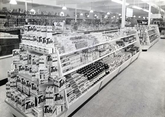 Soap powder aisle, Woolworths store, 1956