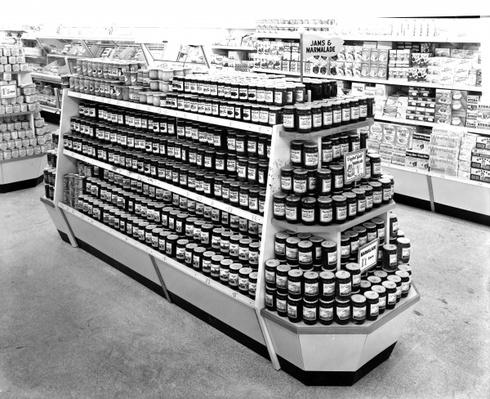 Jam and Marmalade aisle, Woolworths store, 1956