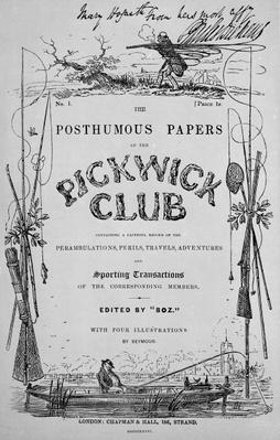 Titlepage for 'The Posthumous Papers of the Pickwick Club' by Charles Dickens, 1st edition, 1836