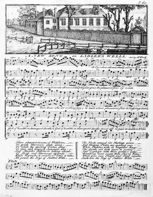 Sheet music for 'A New Song on Sadler's Wells', 1746