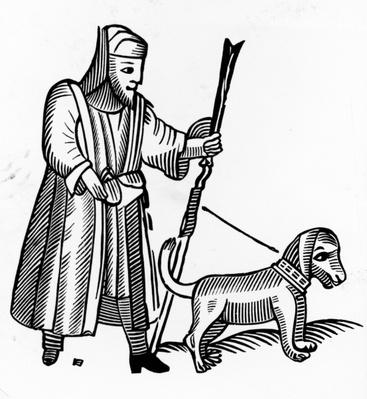 Pilgrim with a dog