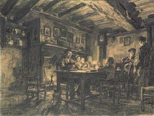 Family supper in the evening, 1883