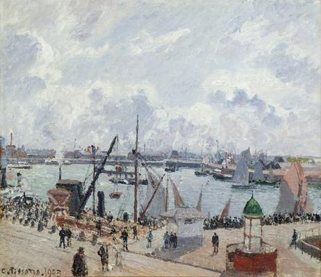 The outer harbour of Le Havre, Quai de Southampton, the Honfleur boat leaving the harbour, 1903