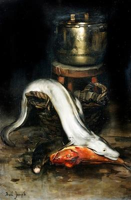 Still life with fish and cauldron
