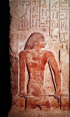 Portrait of Mereruka holding a kherp in his right hand, from the Mastaba of Mereruka