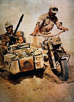 WW2 German Army motorcycle combination armed with machine gun