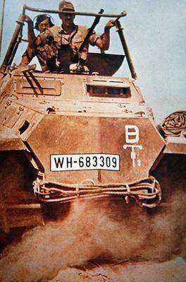 Armoured vehicle of German Afrika Korps in North Africa, 1942
