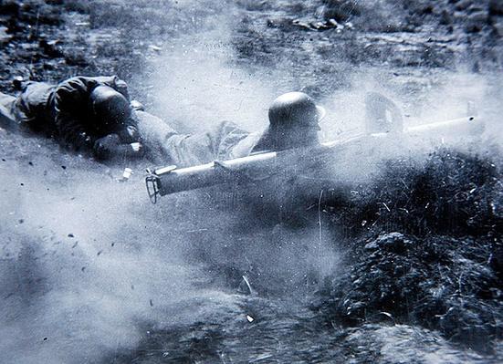 German panzerschreck anti-tank gun team in action, 1944