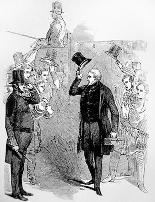 Sir Robert Peel arriving at the House of Commons, saluted by a 'Peeler'