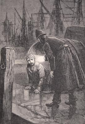 London policeman on patrol in the docks finds homeless man living in empty barrel, 1885