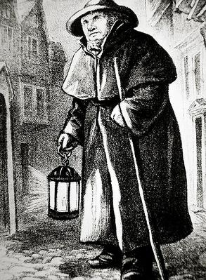 London Watchman of the 18th century on street patrol