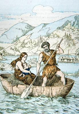 Ancient Gauls in Coracle type boat